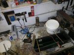 Like any Chemistry this is messy - CHinese Fishtank Heater, Maplin Constant Current Supply, Bath, anodes and components.