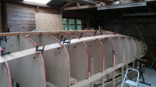The Bilge Stringers going in - looking aft