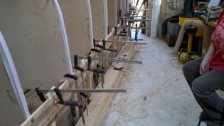 Clamping a plank in place