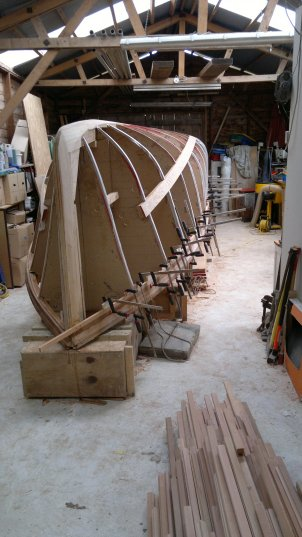A view from the bow with first couple of planks fitted