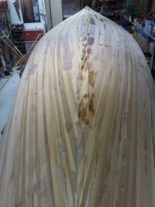 the planked hull-keel marked