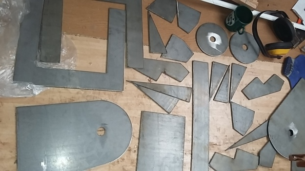 "Mast Partner components plasma cut into 1/4"" plate"
