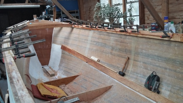 "Adding laminations to the deck clamp to provide a workable side deck, and act as ""carlins"" to support the cabin sides."