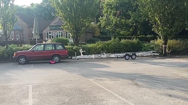 Behind Nigel's Range Rover