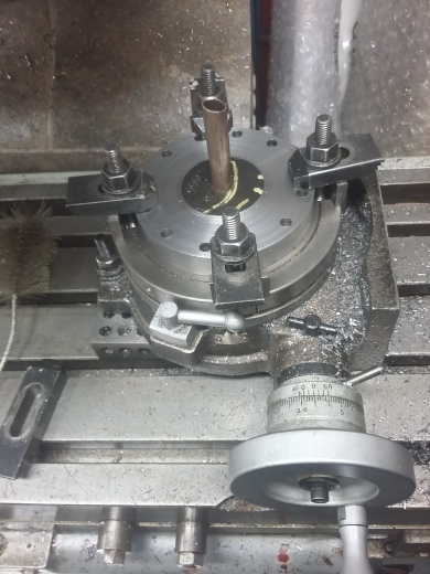 Economiser and superheater header. Set-up for milling recesses on rotary table