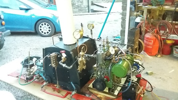Picture of Engine, Boiler Etc. ready for test
