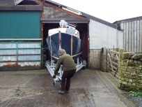Pulling the boat out of the barn - Colin and Malcolm were helping from the stern!