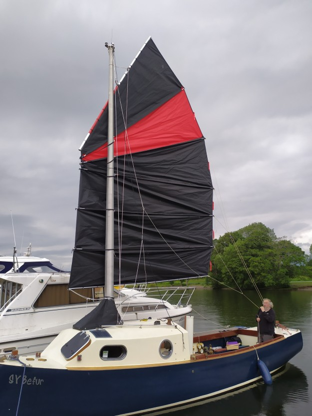 SY Befur moored under sail